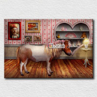 Cartoon house picture high quality cannvas image daughter room wall decoration