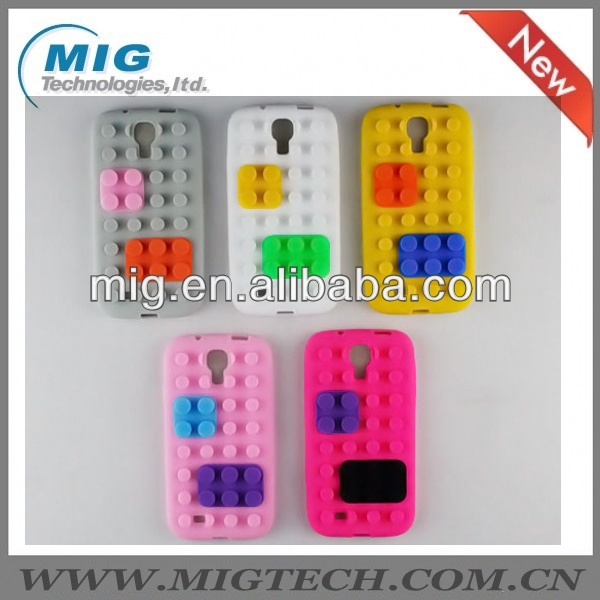 2013 New fasdhion Building Block Soft Gel Silicone Case for Samsung Galaxy S4 I9500