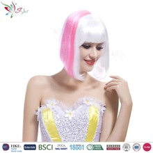 Styler Brand china supplier white with pink wig wholesale women short straight bob hair wig