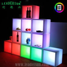 Wholesale colorful waterproof illuminated beer cooler Plastic Square light up LED ice bucket for bar KTV party