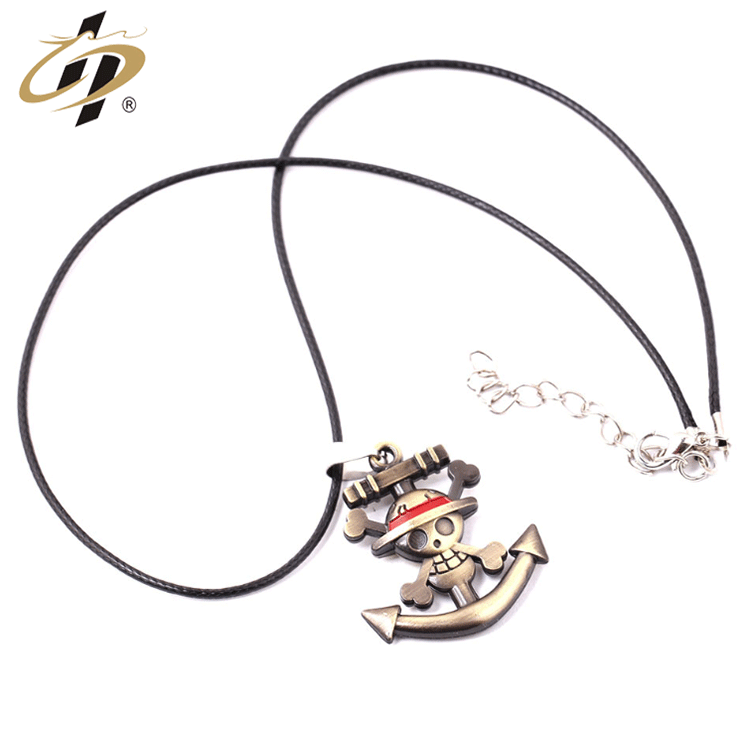 Personalized customization high quality 3d zinc alloy gold  metal dog tag necklace for  One Piece Road Fly