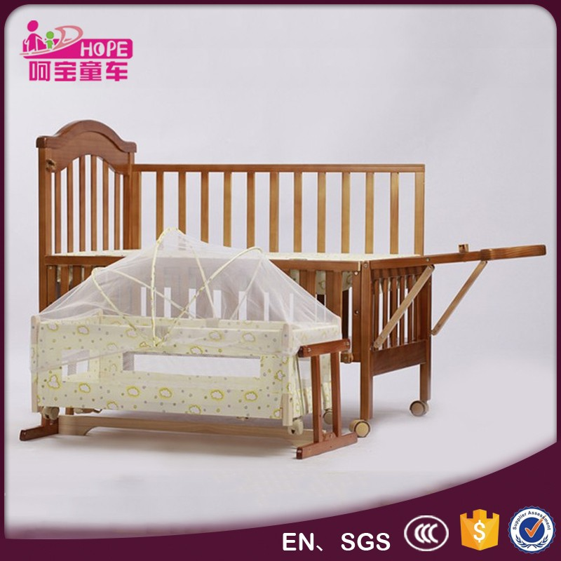 solid wooden baby bed bumper new design crib baby bed