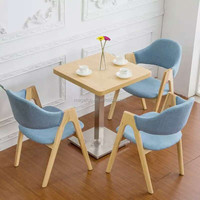 Ash wood coffee table with 3 chairs in light blue(FOH-WRS42)