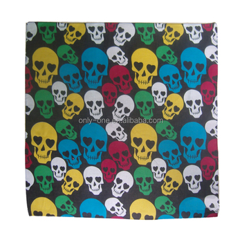 Personalized popular cotton skull printed customized square scarf