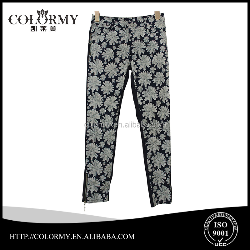 ladies new fashion jeans cotton print long trousers