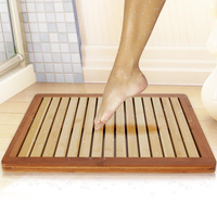 Bamboo Bath Mat Shower Floor Mat for Water Evaporation and Non Slip Rubber Feet for Indoor Outdoor Use
