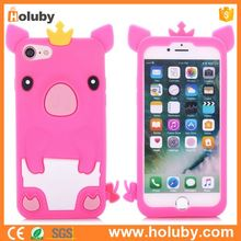 3D Cartoon Crown Pig Pattern Soft Silicone Back Cover Case for iPhone 7 - Rose Red