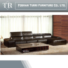 Italian Comfortable Brown Color Corner leather sofa