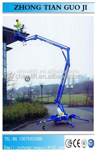 14m boom lift platform trailing crank arm lift