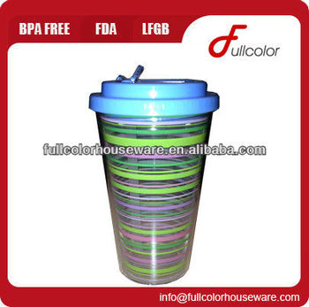 16oz double wall insulated tumbler with folded straw