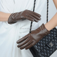 Women's Winter Genuine Lambskin Leather Gloves For Women Thickening Warm Fleece Lined