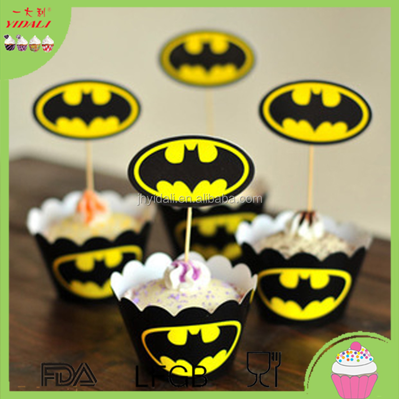 Birthday Decorations - Cupcake Toppers baby party wrapper Cake inserted card toothpick Captain America superman spider-man