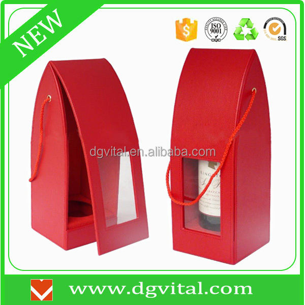 wine suppliers 1 bottle custom made OEM logo red leather box carrier D01