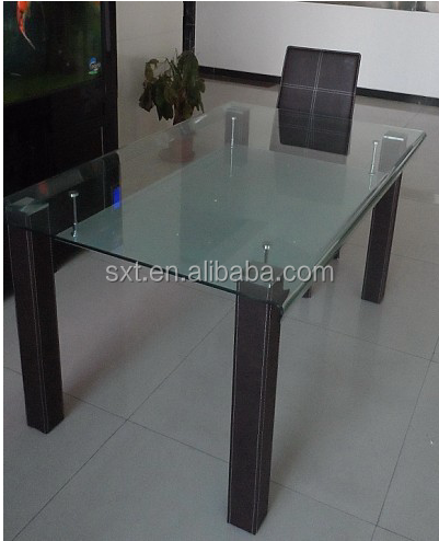 2015 new product glass dining table pvc dining table