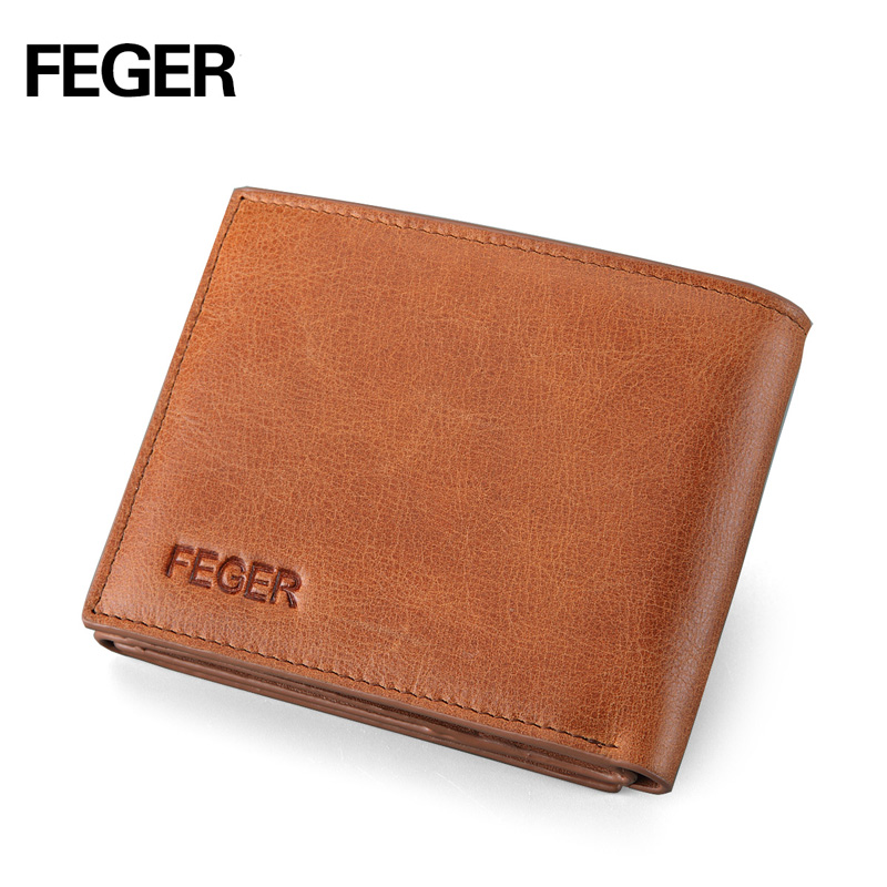 FEGER top grain cowhide trifold men brand leather wallet