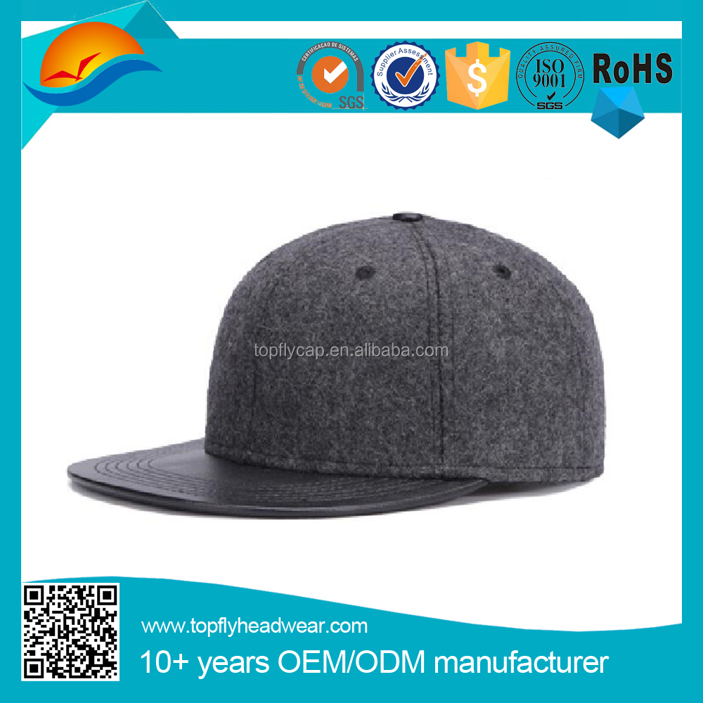 Flat leather visor hip hop cap fashion woolen snapback caps made in china