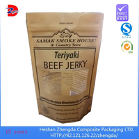 Custom beef jerky snack stand up food packaging zipper bag with window and matte ink