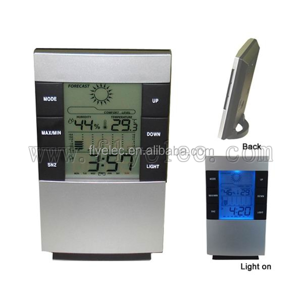Digital LCD clock with weather station