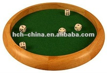 25cm dia Solid Wood Dice Tray With 5 Dices