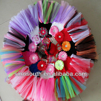 tulle handmade flower crochet dress boutique party dress kids for wedding
