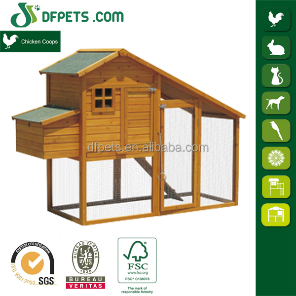 Wood rabbit hutch chicken coop with planter