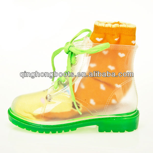 cute rain boot, clear transparent upper color sole for kids
