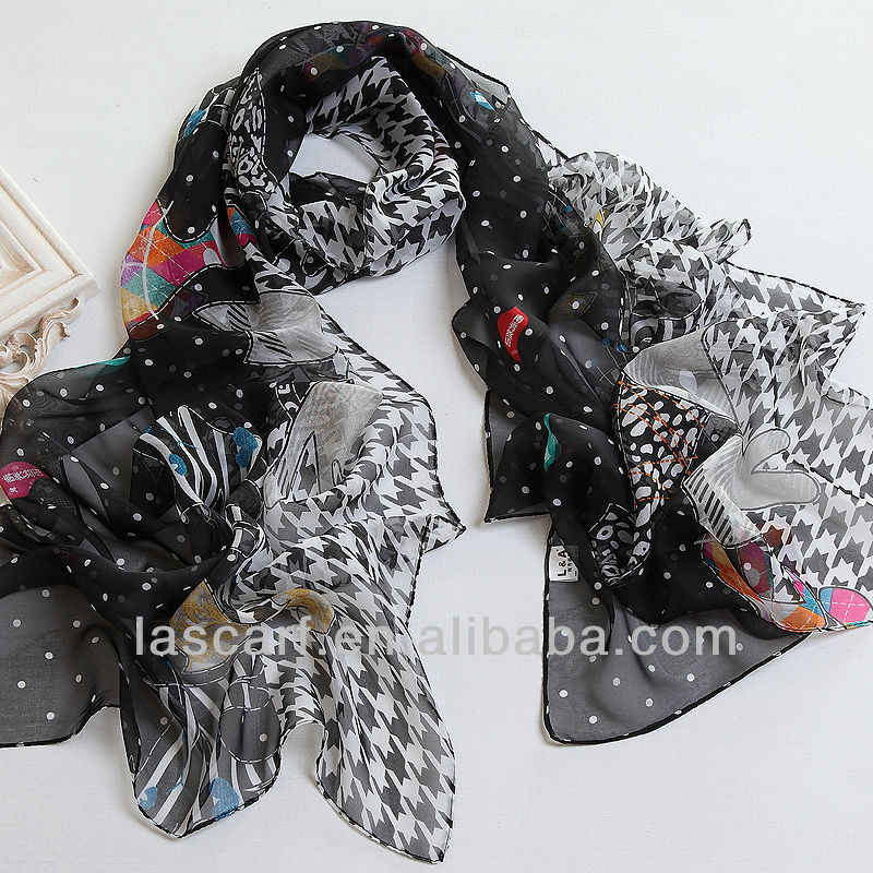 Cat printed black chifffon scarf