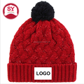 Red Cuffed Knit, Stretch-fit for easy feel Beanie cap , custom logo cap and hat