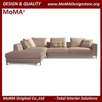 Vintage Italian Design Living Room Furniture Sectional Fabric Sofa Set With Stainless Steel Legs