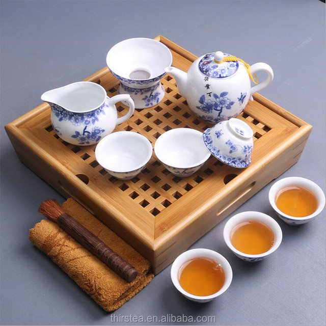 New style Tea sets traditional bamboo tea tray high quality famous Blue and white porcelain teacup teapot Kung Fu tea ceremony