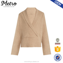 New Wrap Design V-Neck Shawl Collar Beige Knit Sweatershirts