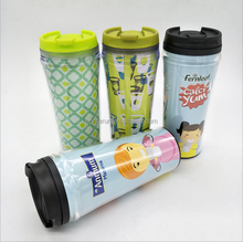Hot sale new style printed double wall insulated Plastic Mug with paper insertion