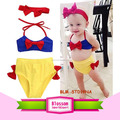 Boutique baby Bowknot kids clothing girl bikini Set breathable nontoxic top+briefs+headband kids bikini swimwear