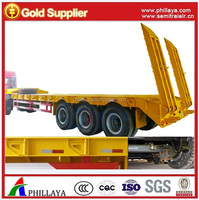 Side extension tri-axle bulldozer transport trailers/low boy semi tractor trailer/60 tons low bed trailer with low walls