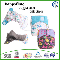 pop! Happyflute baby cloth diaper night AIO diaper one size reusable washable breathable sleepy baby nappy wholesaler