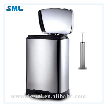 12L Fingerprint Resistant Movable Stainless Steel Foot Pedal Hotel/Room/Club/Office Soft Closed Trash Can With Bucket