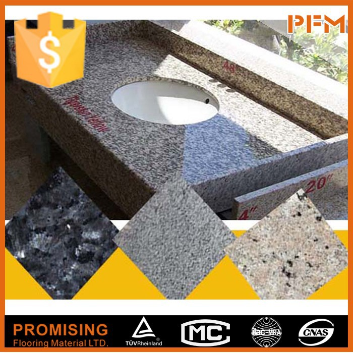 PFM bathroom solid color granite countertops with built in sinks