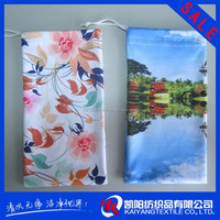 Microfibre transfer printed double drawstring pouch for mobile phones