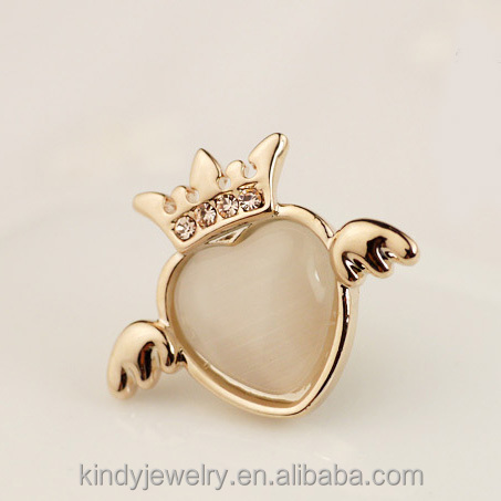 fashion alloy crown shape crystal small costume collar brooch pin