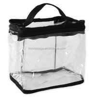 Transparent PVC Plastic Train Case Tote Bag for Cosmetics