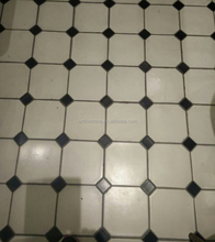 black and white small size glazed porcelain octagonal floor tiles