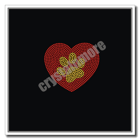 Paw Print Heart Rhinestone Transfers Custom for clothes