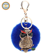 YWMM044 RDT New Arrival Oil Drip Owl Charm Metal Keyring Wholesale Vintage Plush Fur Pom Ball Keychain with Various Colors