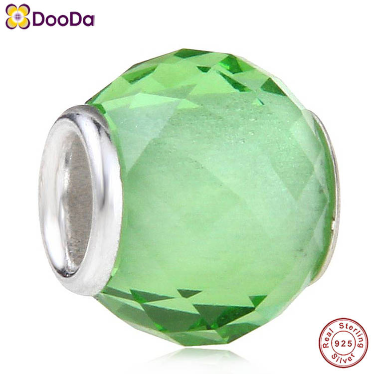 Dooda Jewelry Wholesale 925 Sterling Silver Core Peridot Faceted Glass August Birthstone Beads for European DIY Bracelet Making