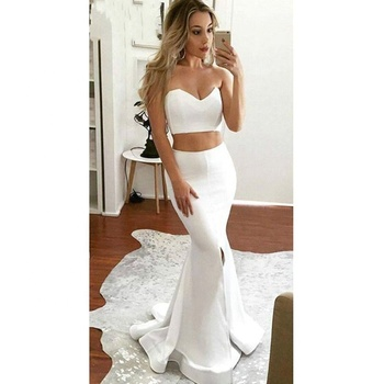 Girls Formal Gown Two Piece Cheap White Party Sexy Evening Dress