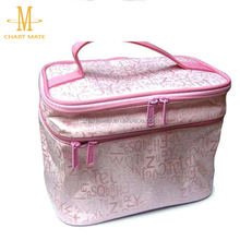 OEM High quality PVC round cosmetic pouch case bag with zipper for ladies
