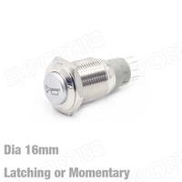16mm Horn Indicator Metal Push Button Switch LED Switch For Cars