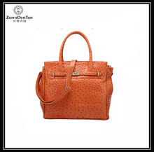 Newest Womens Ostrich Skin Turn Lock Tote Handbag Tote HandBag