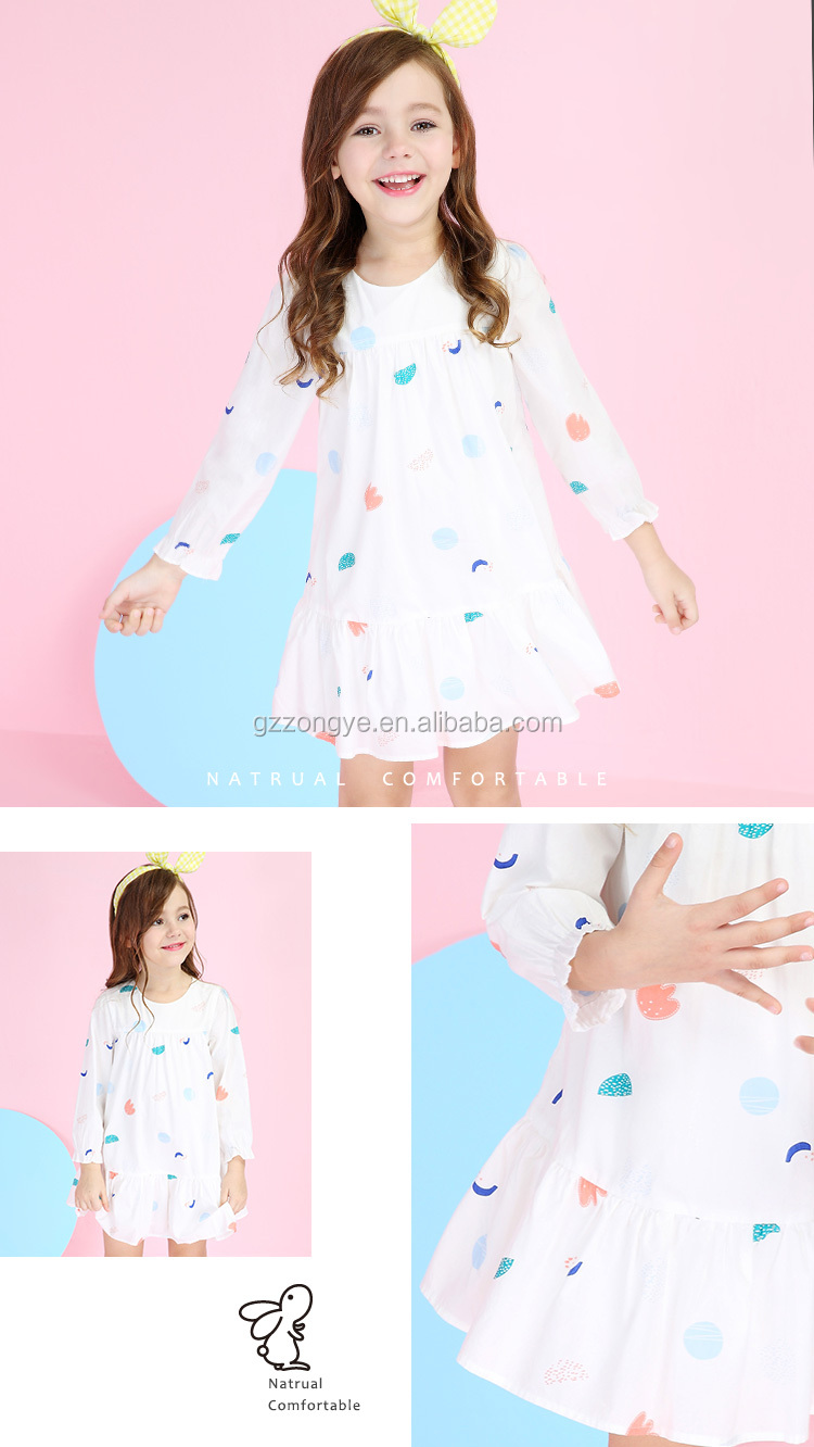 The latest design spring and summer new style of girl's o-neck dress cotton dress