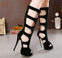 Sexy Cutouts Open Toe Stiletto shoes 14cm Ultra High Heels Knee High Gladiator Sandals Black Zip Brand Shoes Summer Boots